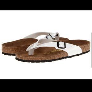 BIRKENSTOCKS white Adria patent leather sandal